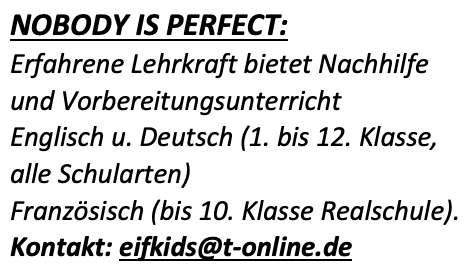 "Nachhilfe ""Nobody is Perfect"" Oktober 2020"